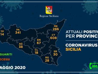 Coronavirus, in Sicilia il 26 maggio tre nuovi contagi e un solo decesso